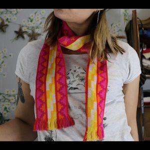 Vintage neon pink and yellow Liz Claiborne scarf